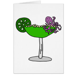 Purple Octopus in Margarita Glass Card