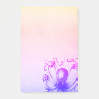 Purple Octopus Ombre Steampunk Sea Travel Post-it Notes