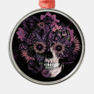 Purple ohm skull with paint splatters. Silver-Colored round ornament