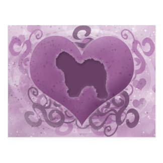Purple Old English Sheepdog Valentine Postcard