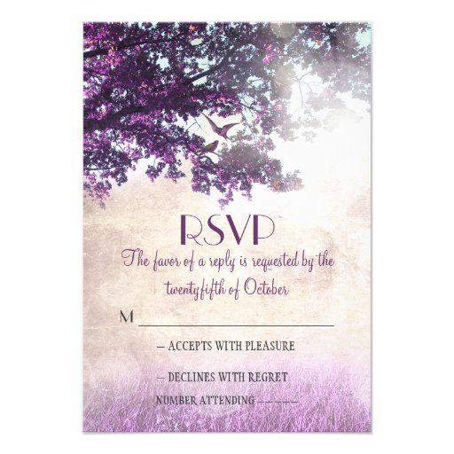 Purple old oak tree wedding RSVP cards