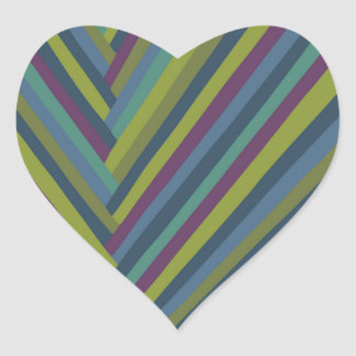 Purple & Olive Green Abstract Mod Striped Heart Sticker
