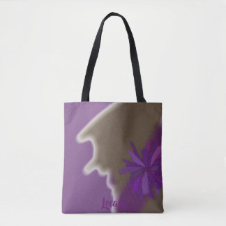 Purple Olive Green Floral Personalized Tote Bag