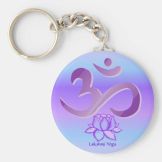 Purple Om and Lotus keychain