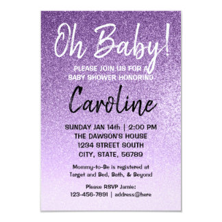 Purple ombre | baby shower invitation faux glitter