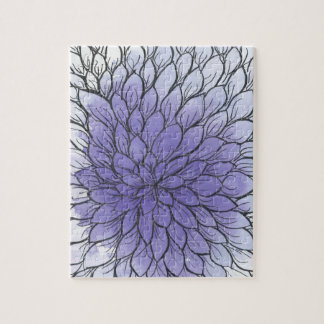 Purple Ombre Chrysanthemum 8x10 Puzzle; Gift Box Jigsaw Puzzle