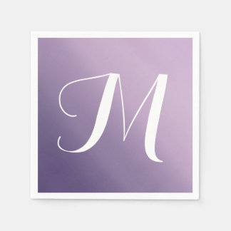 Purple Ombre Fade Monogram Paper Napkins