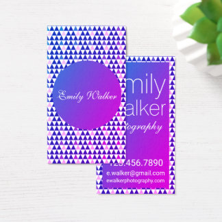 Purple Ombre Geo Triangles Business Card