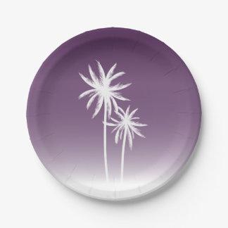 Purple Ombré Palm Trees Beach 7 Inch Paper Plate