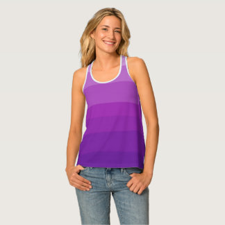 Purple Ombre Stripes Racer-back Tank Top