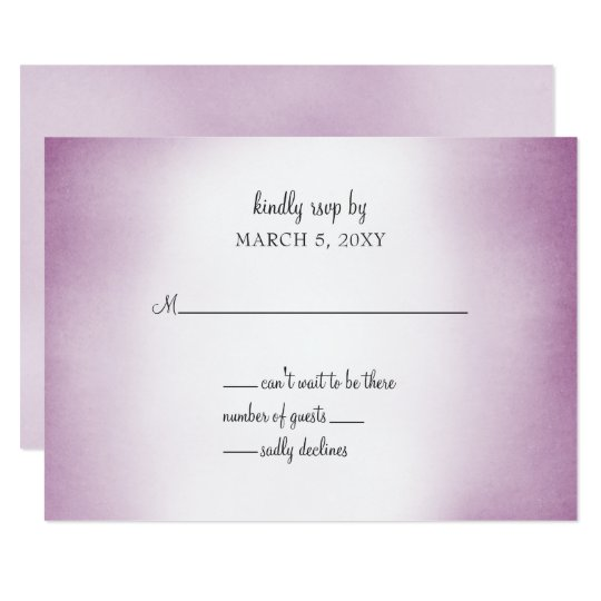 purple ombre wedding invitation rsvp