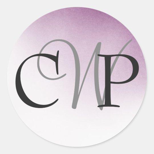 Purple Ombre Wedding Monogram stickers