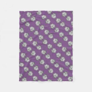 Purple on Grey Rose Bud by Delynn Fleece Blanket