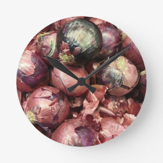 Purple Onion Round Clock