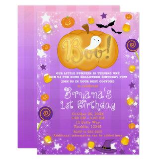 Purple & Orange 1st Birthday Halloween Party Card