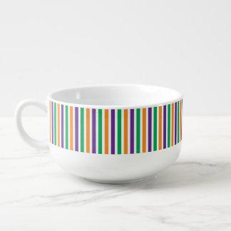 Purple, Orange And Green Striped Pattern Soup Mug