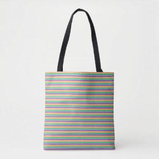 Purple, Orange And Green Striped Pattern Tote Bag