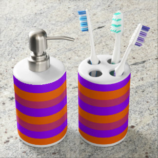 Purple, Orange and Pink  Stripes Soap Dispenser And Toothbrush Holder