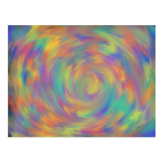 Purple Orange Aqua Spiral Abstract Art Design Postcard