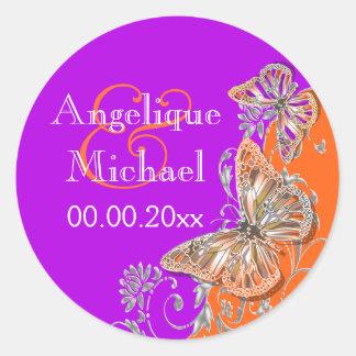 Purple orange birthday engagement anniversary classic round sticker