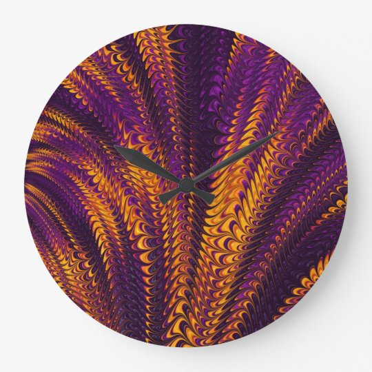 Purple orange black 3D abstract art wall clock