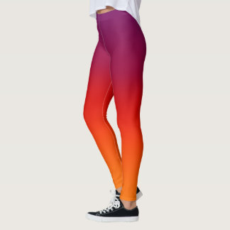 Purple Orange Fade Tahiti Sunset Tropical Nite Sky Leggings