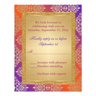 Purple Orange FAUX Gold Glitter Damask RSVP Card