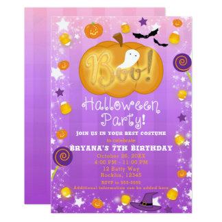 Purple & Orange Fun Whimsical Halloween Party Card