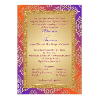 Purple Orange Gold FAUX Glitter Wedding Invite