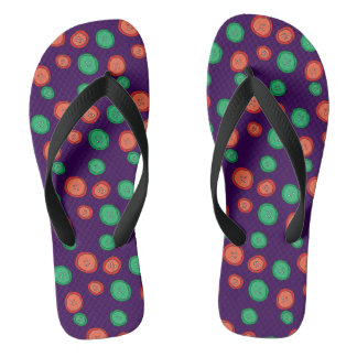 Purple, orange & green button dots. Unique cool. Flip Flops