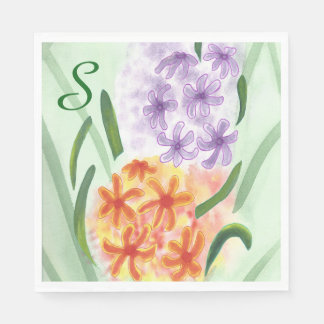 Purple Orange Hyacinth Flowers Monogram Napkins Disposable Napkins