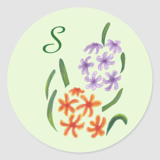 Purple Orange Hyacinth Flowers Monogram Stickers