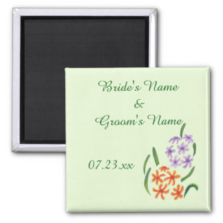 Purple Orange Hyacinth Flowers Save Date Magnets