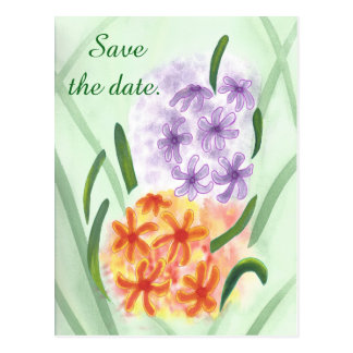 Purple Orange Hyacinth Flowers Save Date Postcards