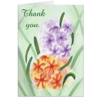Purple Orange Hyacinth Flowers Thank you Cards