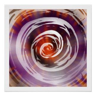 Purple & Orange Hypnotic Swirl Art Perfect Poster