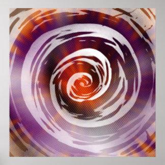 Purple & Orange Hypnotic Swirl Art Poster