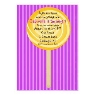 Purple & Orange Lollipop Girls Birthday Invitation