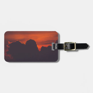 Purple orange sunset clouds bag tag