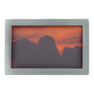 Purple orange sunset clouds belt buckle