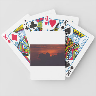 Purple orange sunset clouds bicycle playing cards