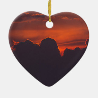 Purple orange sunset clouds ceramic heart ornament