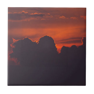 Purple orange sunset clouds ceramic tiles