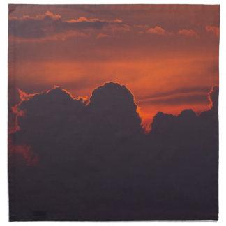 Purple orange sunset clouds napkin
