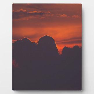Purple orange sunset clouds plaque
