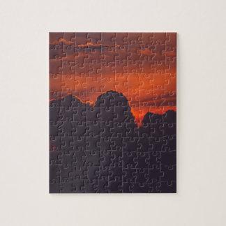 Purple orange sunset clouds puzzle