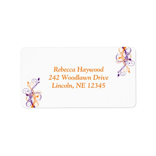 Purple Orange White Floral Return Address Label