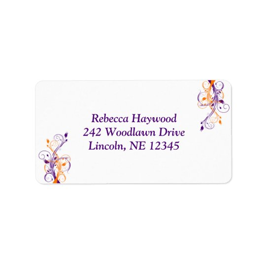 Purple Orange White Floral Return Address Label 2