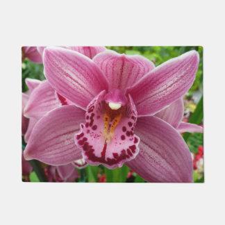 Purple Orchid Elegant Floral Photo Doormat