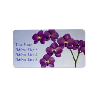 Purple Orchid Floral Address Label